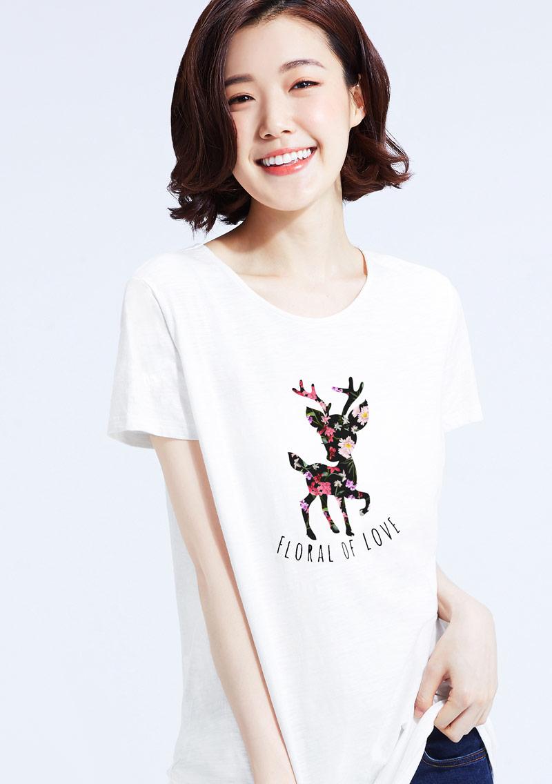 花漾小鹿竹節棉寬版T恤