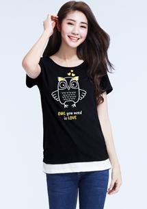 貓頭鷹假兩件竹節棉T恤