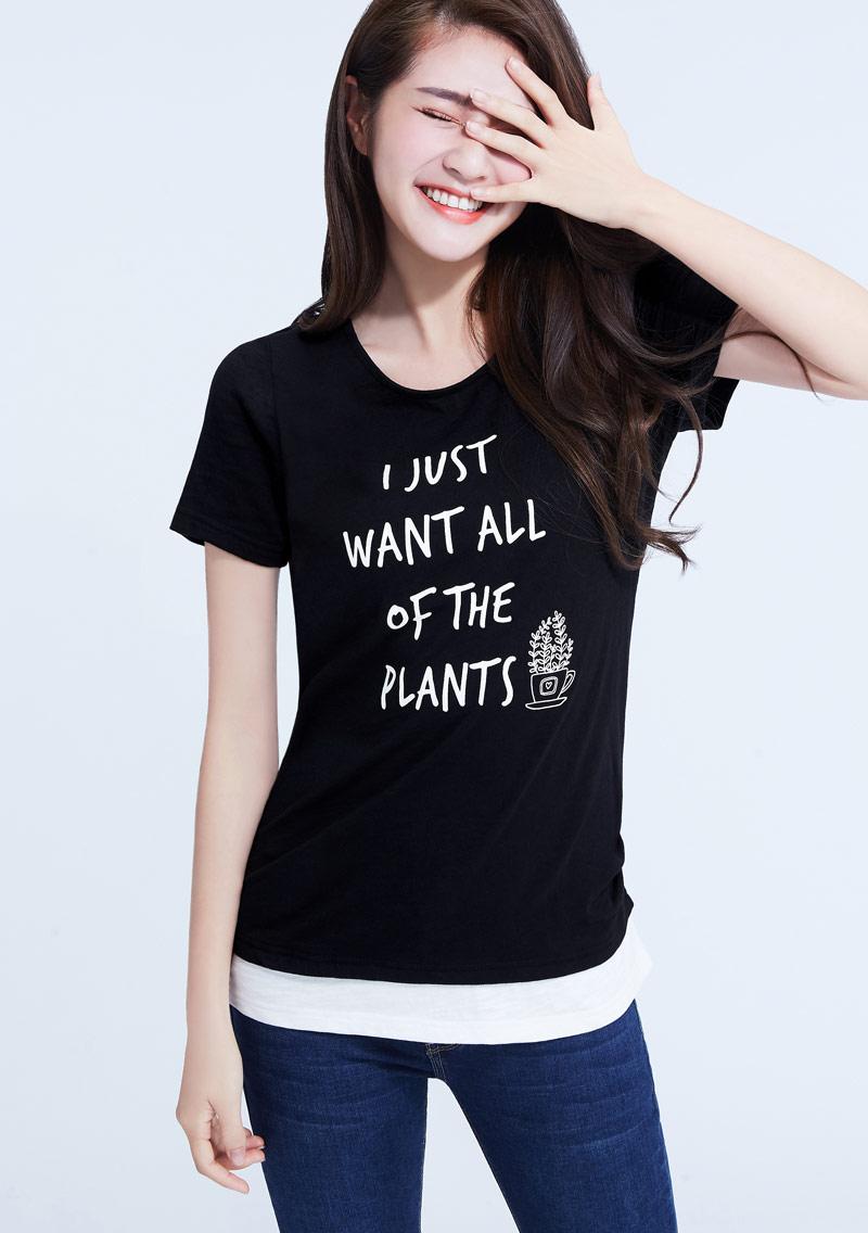 植物文字假兩件竹節棉印花T恤