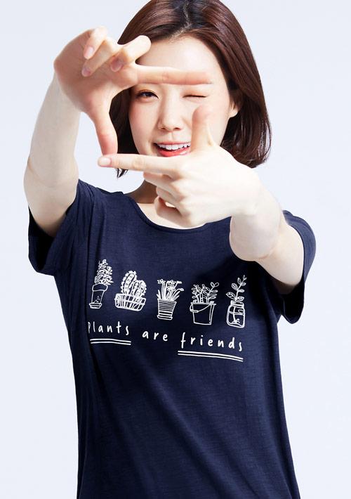 療癒盆栽假兩件竹節棉T恤