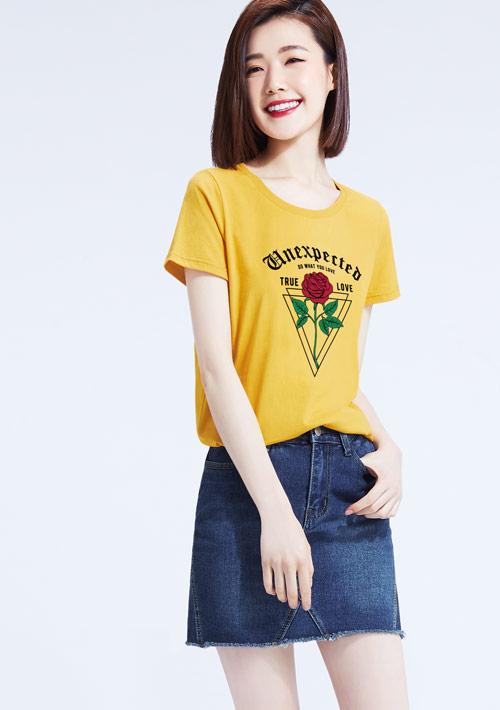 玫瑰物語純棉印花圓領T恤