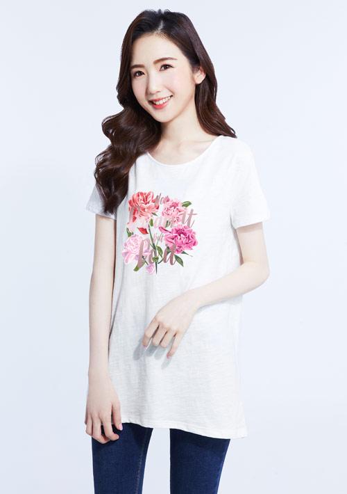 嬌豔牡丹花竹節棉寬版T恤