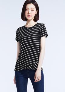 羅紋斜條紋短袖T恤