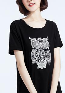 貓頭鷹刺繡純棉寬版T恤