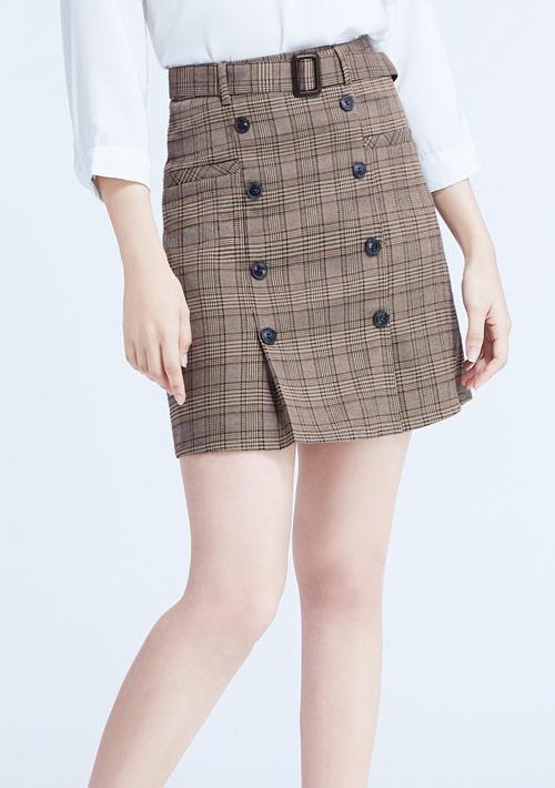 格紋排釦短裙-附腰帶