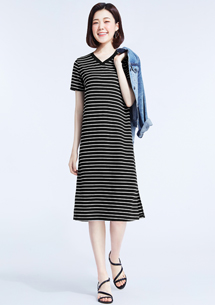 特級四面彈性條紋長版洋裝