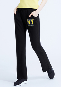紐約學院風電繡毛圈直筒褲