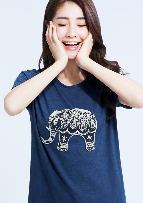 民族風大象竹節棉寬版刺繡T恤