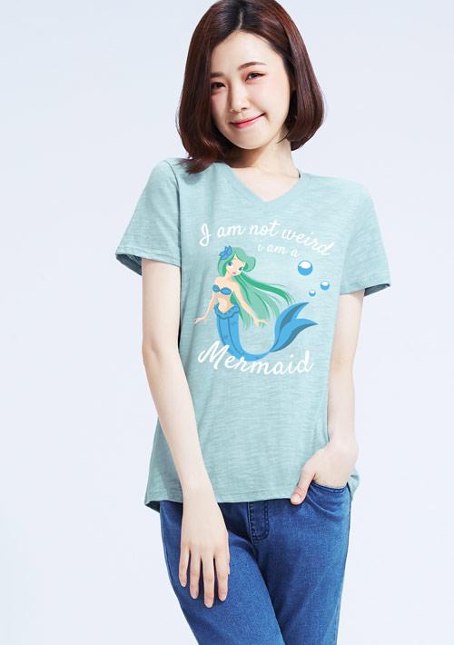 美人魚竹節棉印花V領T恤