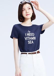 帆船竹節棉側開叉印花T恤