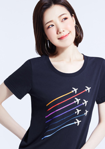 飛機圖案純棉印花T恤