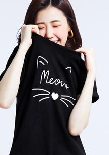 法語貓竹節棉側開叉T恤