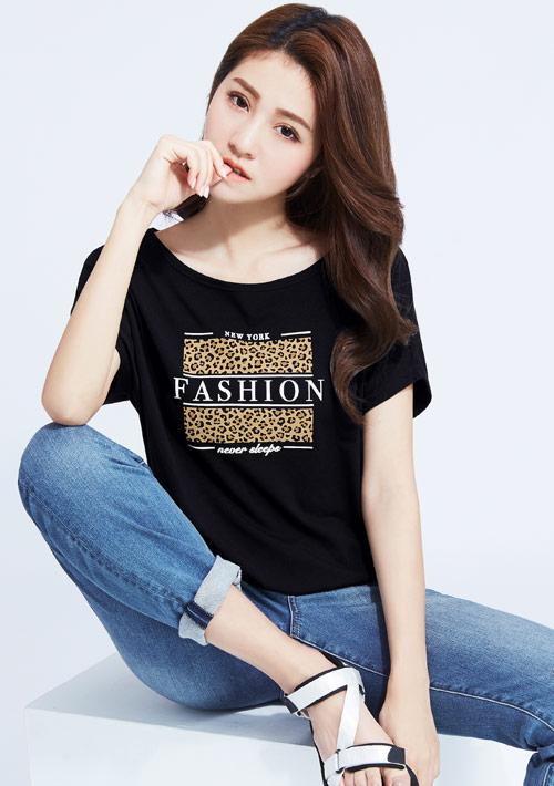 特級四面彈性寬版豹紋印花T恤