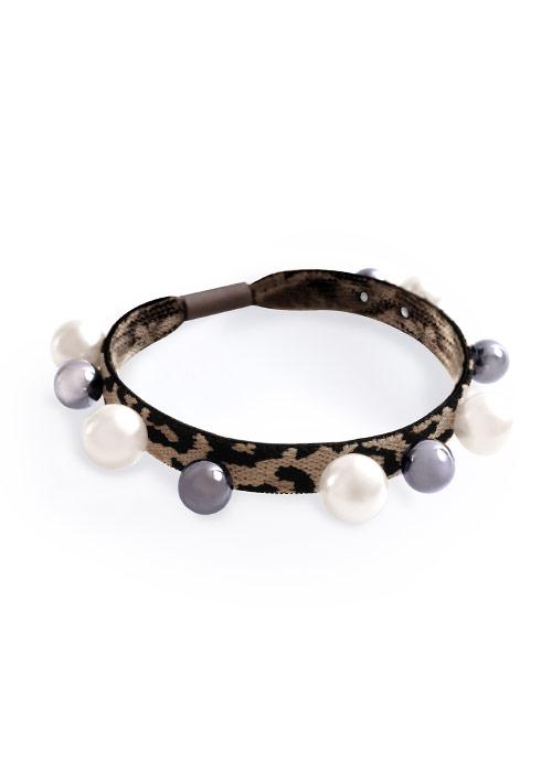 豹紋珍珠髮圈