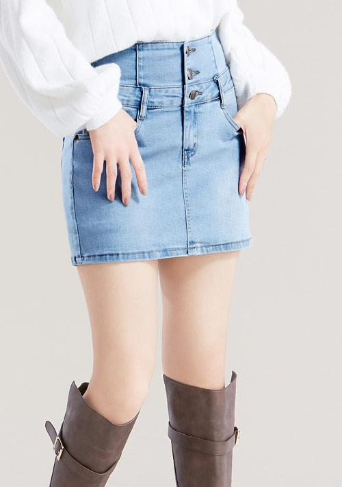 特級彈性收腹排釦牛仔褲裙