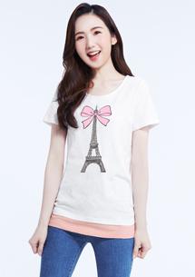 浪漫巴黎假兩件竹節棉印花T恤