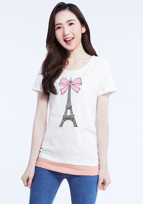 【限時二天$199】浪漫巴黎假兩件竹節棉印花T恤