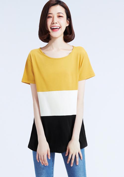 配色純棉圓領T恤