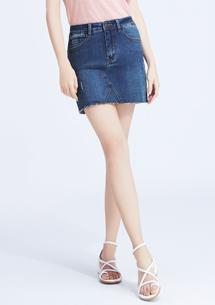特級彈性剪裁牛仔褲裙