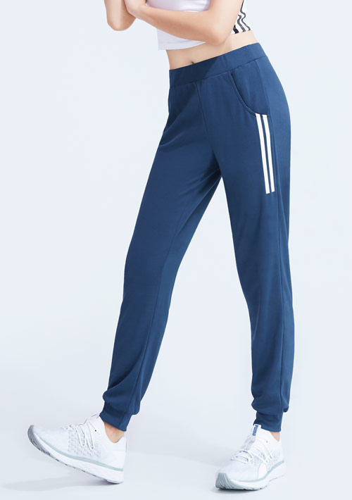 側條紋印花抗UV吸排束口長褲