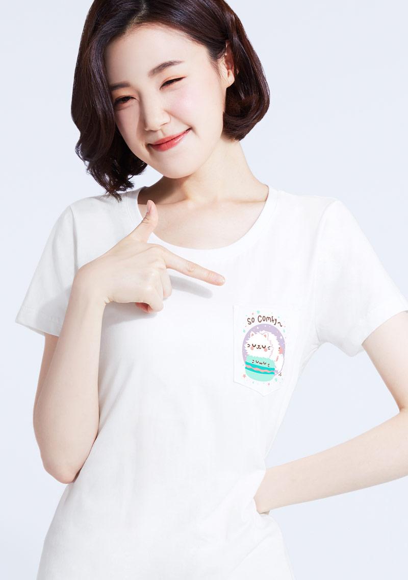 馬卡龍貓咪純棉口袋印花T恤