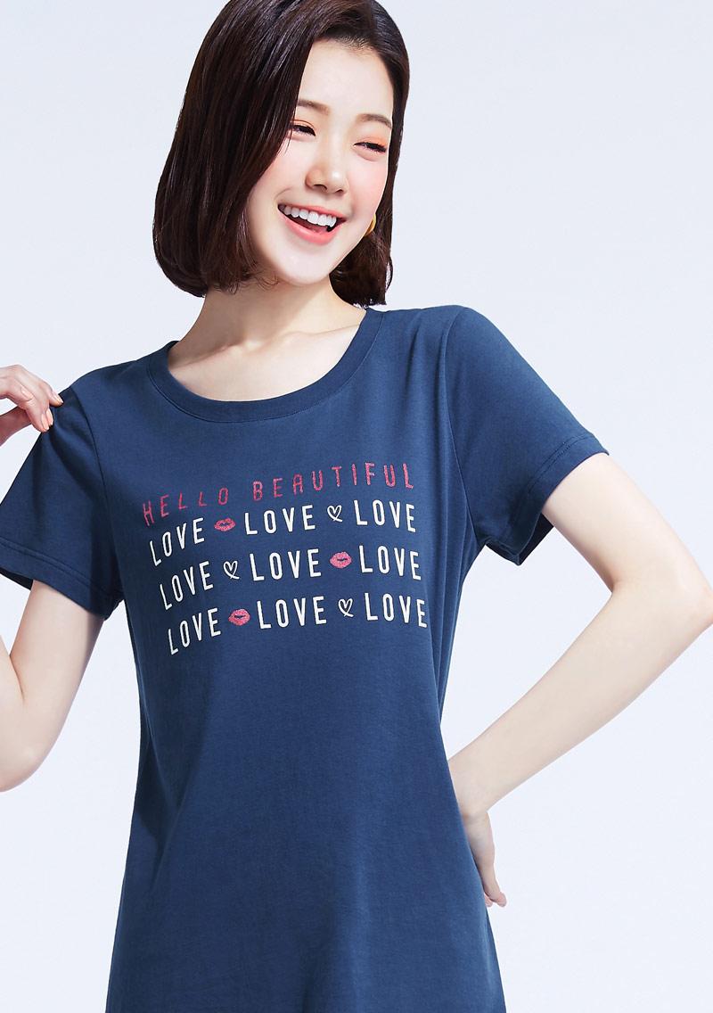 唯一的愛純棉側開叉印花T恤