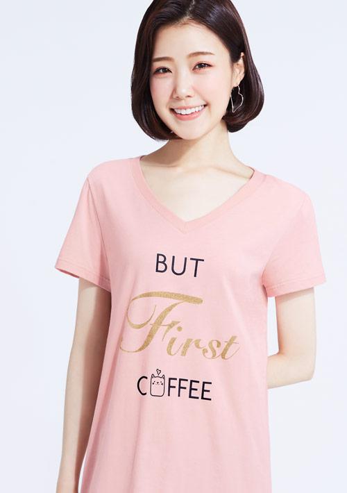 閃亮字母純棉印花V領長版衫