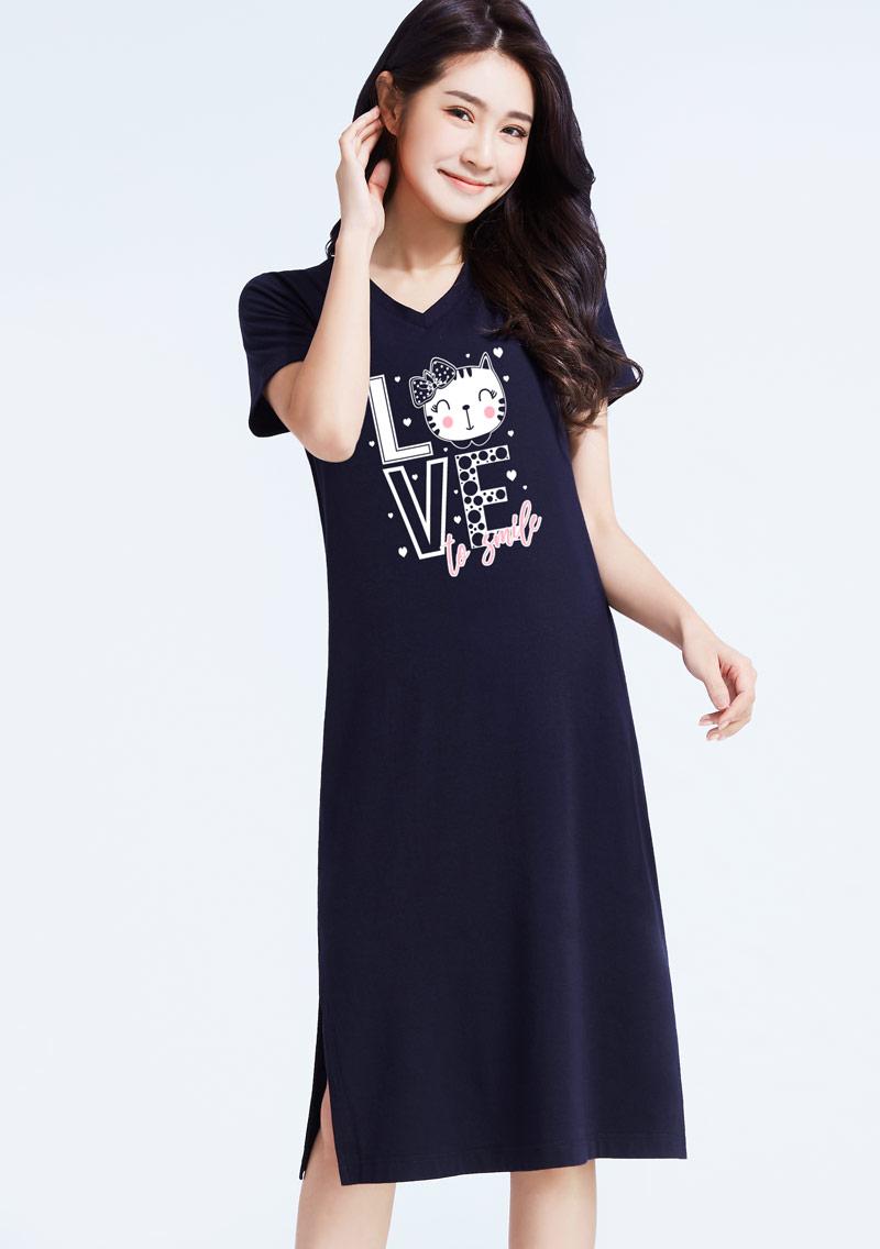 特級四面彈性Love貓印花洋裝