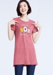 【限三天$199】寵物冰棒竹節棉印花長版衫