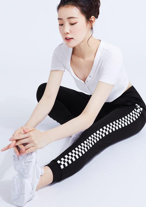 格子印花抗UV吸排束口長褲