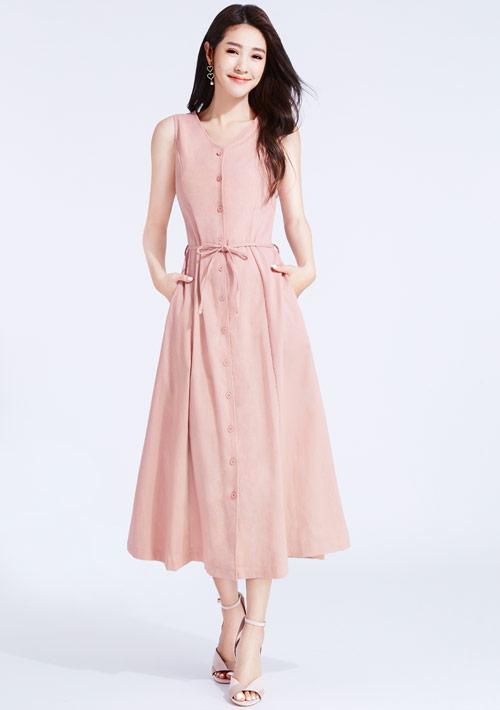 亞麻長版洋裝