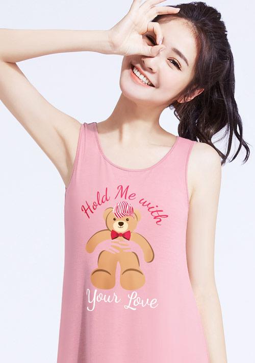 特級四面彈性泰迪熊印花背心洋裝
