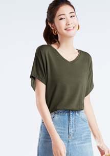 【限48HR$168】特級四面彈性V領短袖衫
