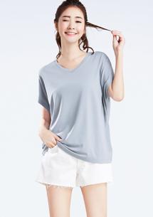 特級四面彈性V領短袖衫