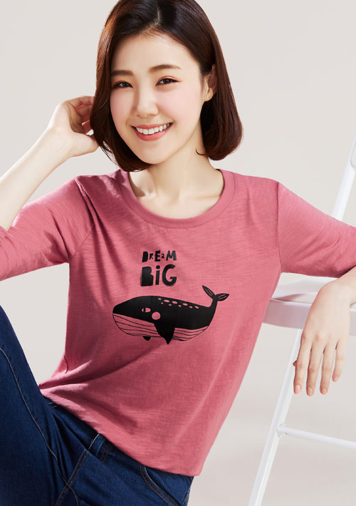 可愛動物竹節棉長袖印花T恤