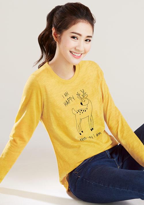 森林動物竹節棉長袖印花T恤