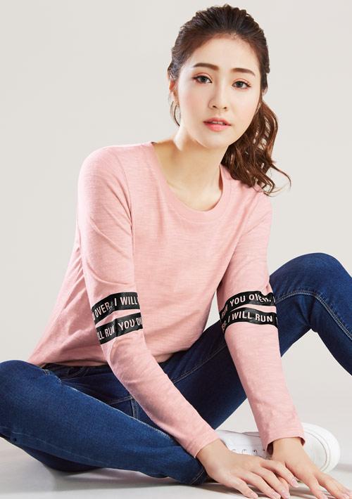 運動條紋竹節棉長袖印花T恤