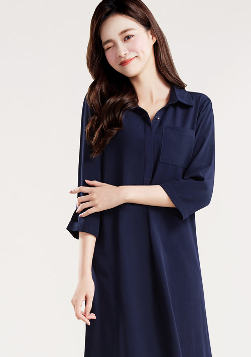 嫘縈襯衫領洋裝