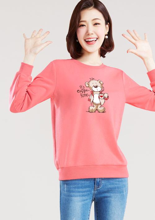 手繪泰迪熊毛圈圓領衫