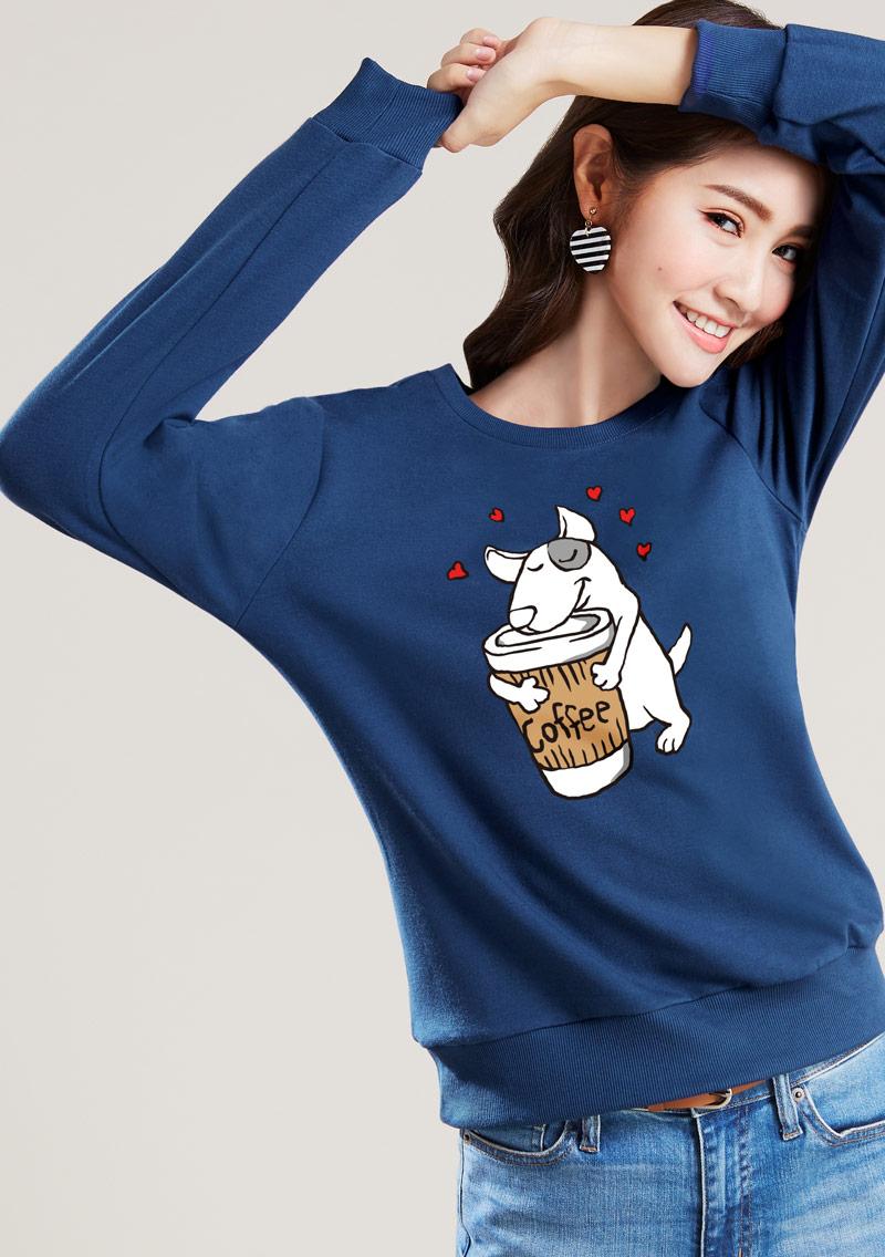 狗狗愛咖啡毛圈圓領衫