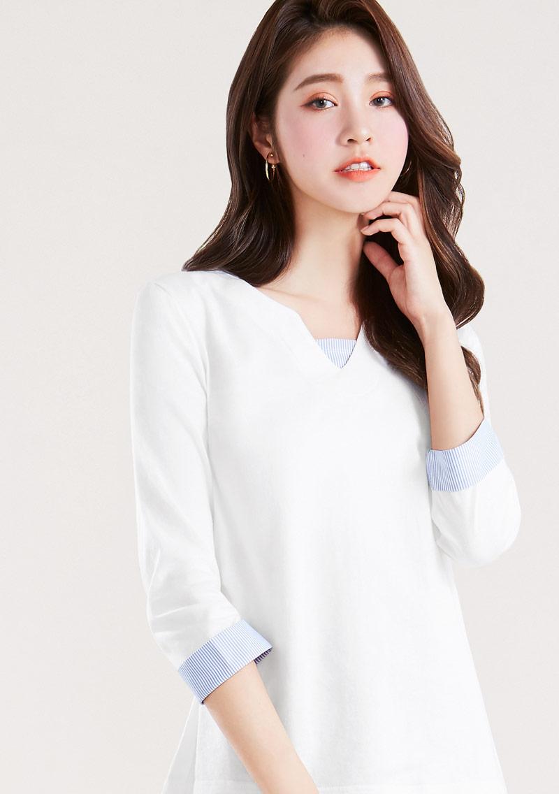 拼接條紋純棉七分袖上衣