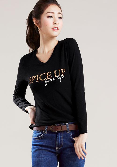 豹紋字母特級四面彈性V領T恤