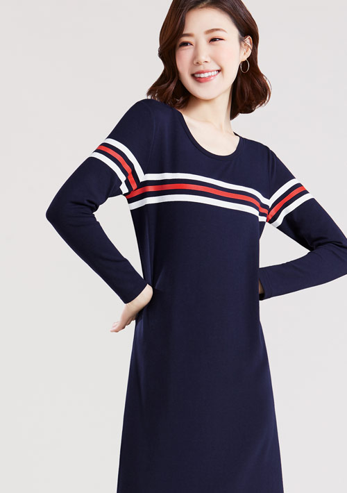 特級四面彈性條紋印花長袖洋裝
