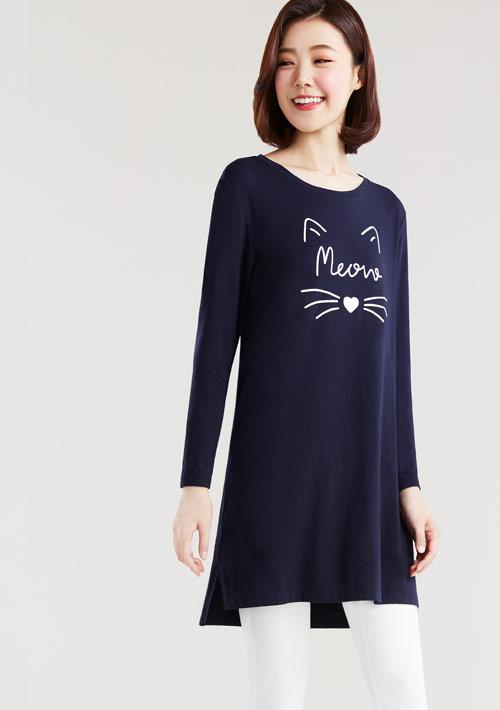 Meow特級四面彈性寬鬆長版衫