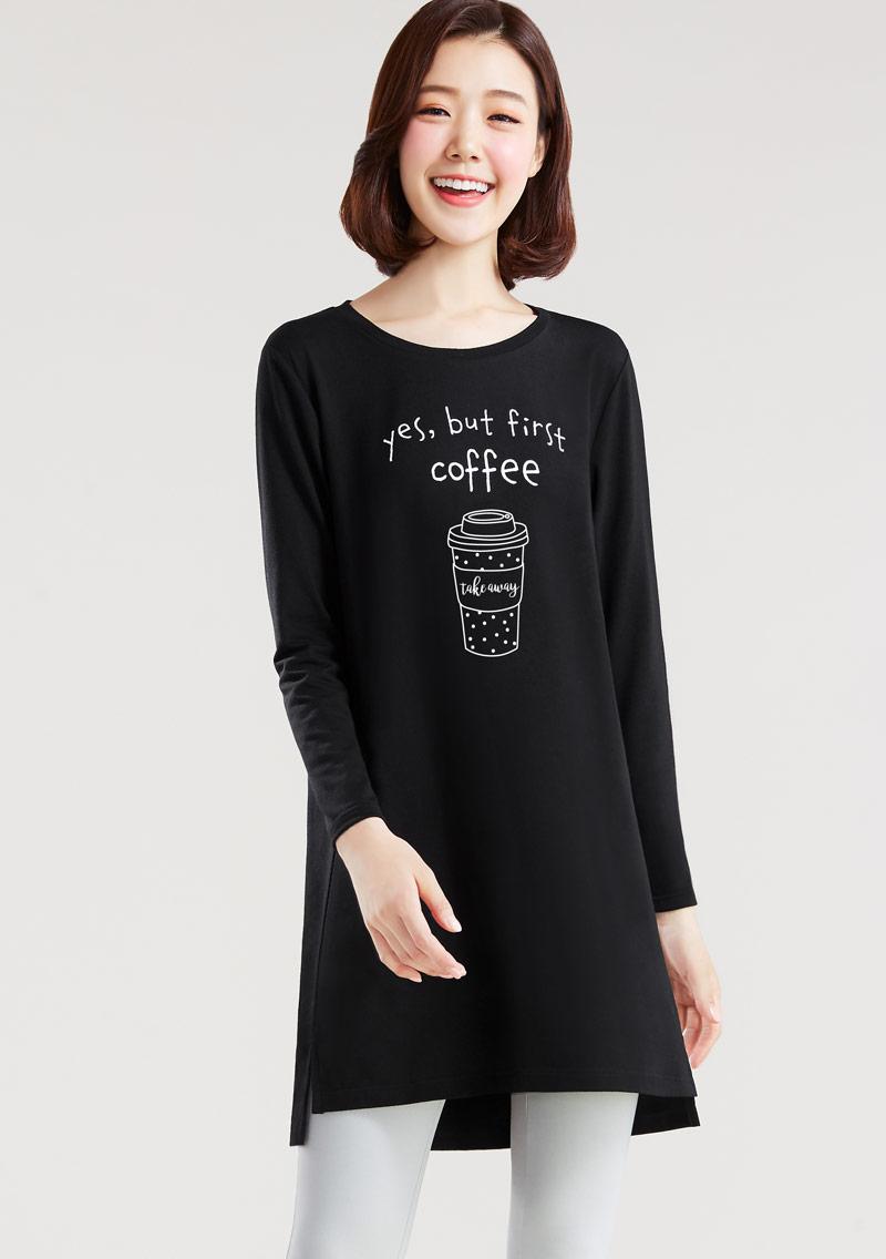 咖啡印花特級四面彈性寬鬆長版衫