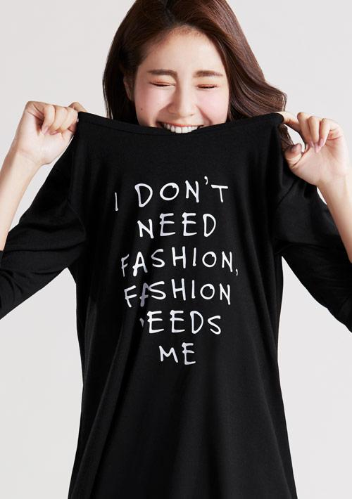 時尚字母特級四面彈性寬鬆長版衫