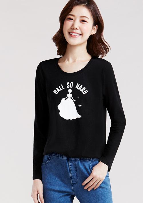 童話公主純棉長袖印花T恤