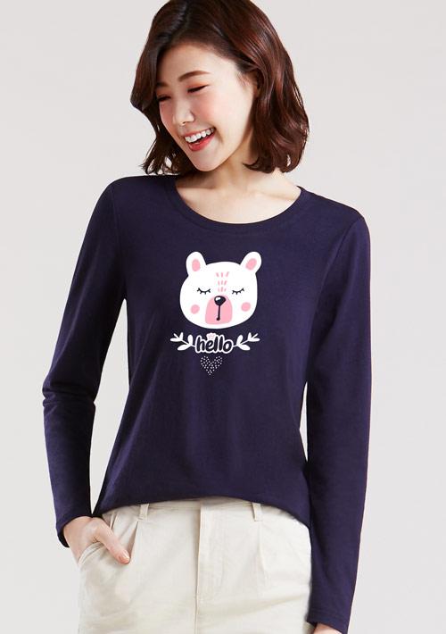 狐狸和熊純棉長袖印花T恤