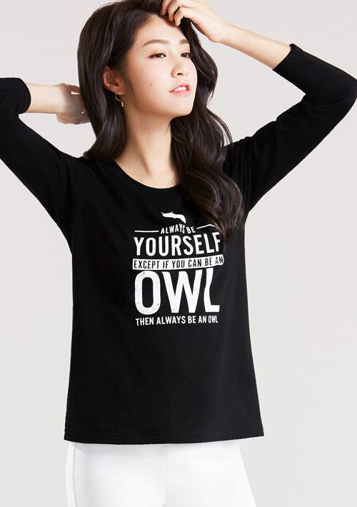貓頭鷹純棉長袖印花T恤