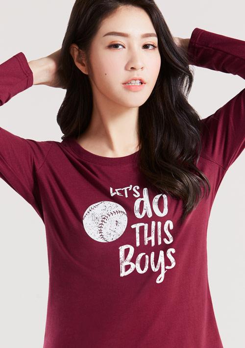 純棉長袖棒球印花T恤